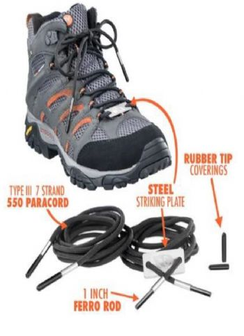 AirForceOne Survival Bootlaces with Mil Grade Paracord incorporating Flints, Spark Rods and Strikers